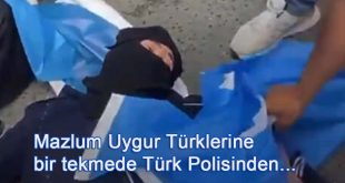 Mazlum Uygur Türklerine bir tekmede Türk Polisinden…